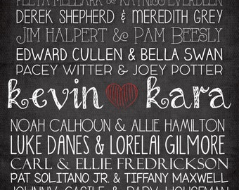 Customized Printable 'Famous Couples' Sign
