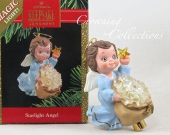 1990 Hallmark Starlight Angel Ornament Keepsake Lighted Christmas Stars Vintage Beautiful!