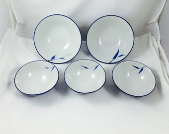 Vintage Hand Painted Porcelain Japanese Rice Bowls (3) and Soup Bowls (2), Japanese Porcelain Rice Bowls, Japanese Porcelain Soup Bowls