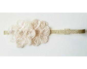 Ivory & Gold Glitter Headband