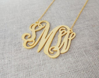 Personalized 3 Initials Monogram Necklace 1 inch,Gold Monogram Initial Necklace, Initial Necklace,Nameplate Necklace Gold,Bridesmaids Gift