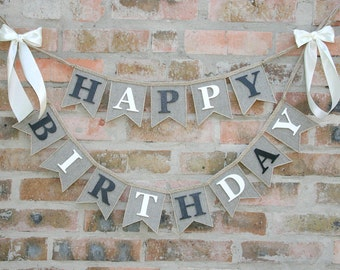 Rustic Birthday Banner Burlap Happy Bunting Decor