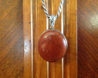 Red Jasper and Sterling Pendant