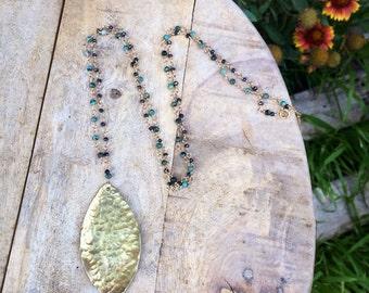 Hammered brass leaf necklace