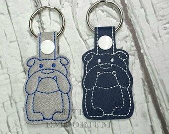 Bulldog Key Fob Snaptab Keychain Machine Embroidery Design