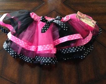 ForgottenDreamsKids Hot Pink & Black Polka Dot Ribbon Edged Tutu L 6/8