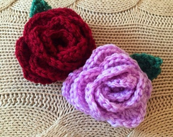 Crocheted 3D English Rose Brooch available in any colour - The perfect gift!
