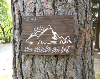 "Joyful Island Creations ""Not all who wander are lost"" wood sign, mountain sign, reclaimed wood sign, gifts under 25"