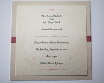 Antique Ivory Pink Flat Invitation