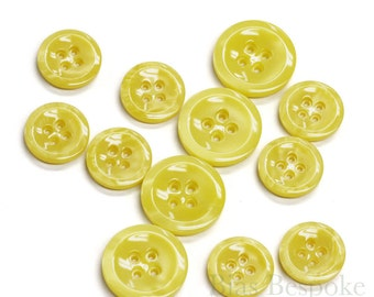 Yellow Galalite Buttons in Two Sizes, Made in Italy