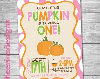 Pumpkin Birthday Invitation - First Birthday- Pumpkin turning one - Custom - Printable- Digital File