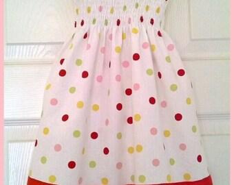 Little Girls Polka Dot  Shirred Summer Dress Age 2 to 3 years