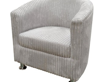 Tub Chair Upholstered in a Luxurious Silver Jumbo Cord Fabric With Metal Legs