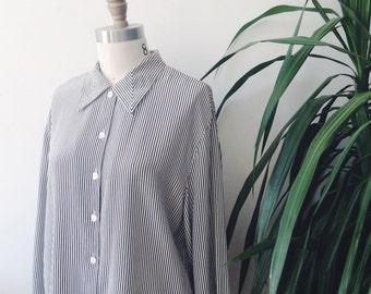 black and white pinstripe vintage silk bouse // vintage silk blouse