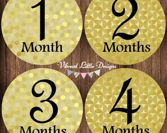 Monthly Baby Stickers Girl, Milestone Stickers, Month Stickers, Baby Month Stickers, Baby Stickers, Gold, Glitter, Sparkle #134