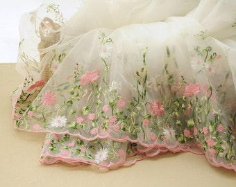 Pink Floral Lace Fabric Bilateral Embroidered Organza Fabric Wedding Dress Bridal Fabric Veil Curtain Fabric 51'' Wide 1 Yard X087