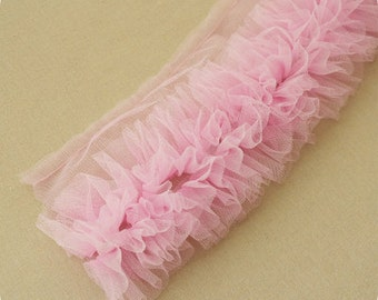 Pink Shabby Rose Trim Tulle Flower Lace Skirt Trim 3.93 Inch Wide 1 Yard X089