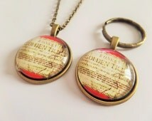 """WILLY WONKA - Charlie & the Chocolate Factory inspired """"golden ticket"""" glass dome necklace or keyring - fan gift - jewellery - xmas"""