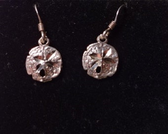 Sterling Silver Sand Dollar Earrings Detailed All Solid Sterling Silver