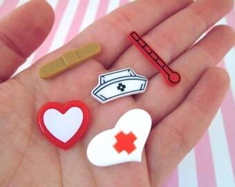 Nurse Cabochons Medical Cabochons Set of 5,  #884a