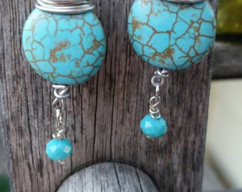 Turquoise/wire wrapped/ earring dangles/renaissance/victorian/antique/vintage