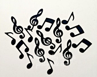 Music Notes Die Cuts, Music Notes Confetti, Black Music Notes Die Cuts, Black Music Notes Confetti, 50 Ct.