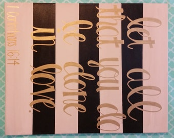 16x20 Home Decor Wall Hanging Let All That You Do Be Done In Love Motivational Inspirational Canvas Painting