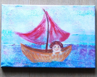 Canvas print: Boy in sail boat