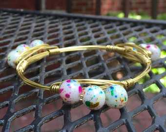 The Tomorrowland, Gold OR Silver Wire Wrapped Multi-Color Paint Splatter Beaded Bangle Bauble Bracelet