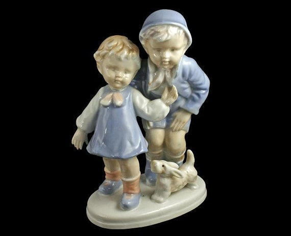 Boy and Girl with Dog Porcelain Figurine