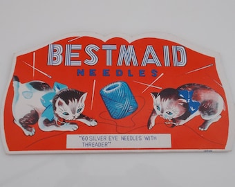 Bestmaid Needle Book with Playing Kittens Graphic made in Japan