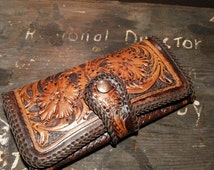 Hand Made, Custom Ladies Leather Wallet purse, Handtooled Leather