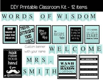 Classroom Decoration Kit - Chevron - DIY Printable Files
