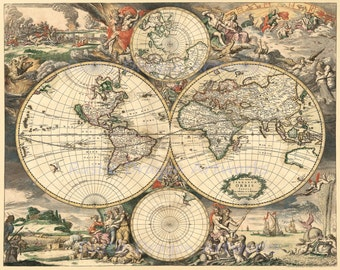 "Gerard Van Schagen ""Historical Map of the World"" 1689 Reproduction Digital Print Vintage World Map"