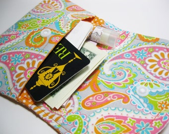 Womens Fabric Cotton Wallet, Paisley Fabric Wallet, Credit Card Holder, Gift Card Holder, Business Card Holder, Gift For Her