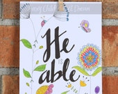 He is Able, Whimsical Doodle, Colored Pencil Art Print, 5x7 or 8x10