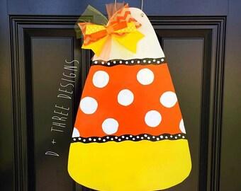 Polka Dot Candy Corn Door Hanger // Fall Door Decor // Fall Wreath // Halloween Decor // Fall Time // Autumn Door Candy