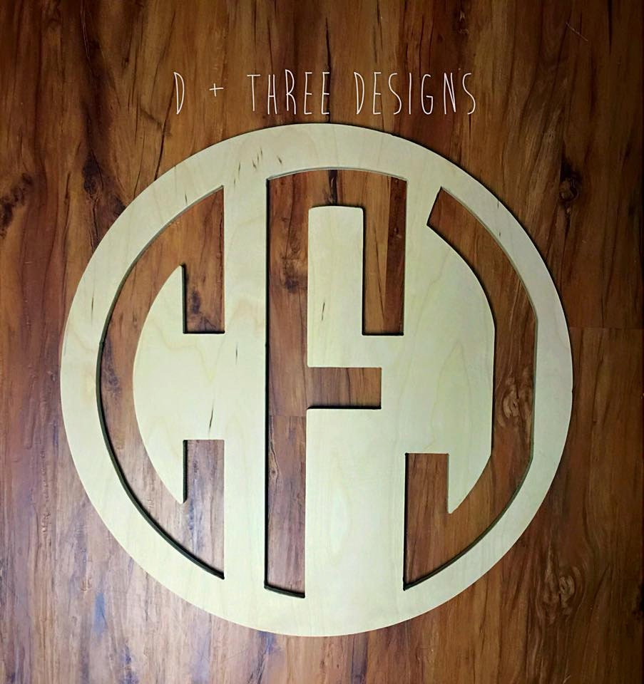 22 inch wooden circle monogram reverse cut out wooden for Monogram homes