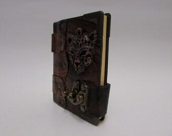 Leather journal notebook M- emblem Leopard