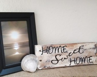 Handmade home sweet home pallet board sign.  handmade pallet sign, handpainted home sign, hand lettering sign, home sweet home art