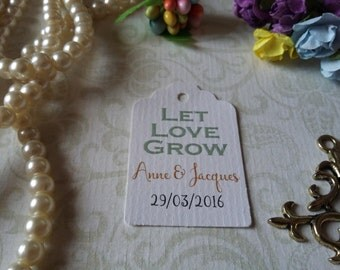 Let love grow tag Gift Tags-Wedding Favors-Bridal Shower favors-Wedding Coffee Favors-Set of 25 to 300 pieces Mini tag