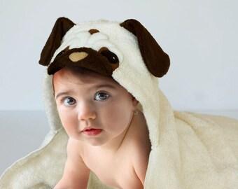 Pug Puppy, Hooded Baby Bath Towel, Pug Dog Hooded Bath Towel, Fleece Applique, 12 - 18 Months, 18 Month - 3 Year