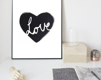 Heart Love Print-Valentines Day Gift-Love Wall Art Scandinavian, Abstract art, Scandinavian print, Wall print, Print art, instant download
