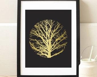 Gold Tree Print,Tree Art, Tree Wall Art, Tree Silhouette, Winter Tree, Leafless Tree, Winter Print, Winter Art, Tree Silhouette Print