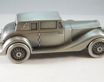 Pewter Bank that resembles a Vintage 1937 Duesenberg Automobile