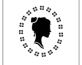 "3x3"" stencil of Woman's Silhouette"