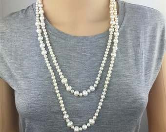 60 inches white Pearl necklace,Wedding Necklace, Love, Mothers Day,Happiness,wholesale,NPN1-004