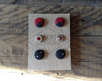 Buttons and Bullets Earring Posts Set - Red Plaid and Black Polka Dots