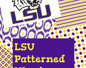 LSU, Purple, Yellow and White,  Patterned Vinyl Add On