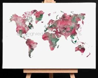 World Map Print, World Map Art, World map Wall Art, Large World Map Poster, Large World Map